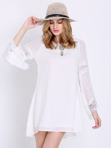 Women's White Flare Long Sleeve With Lace Vintage Shift Dress - Crystalline