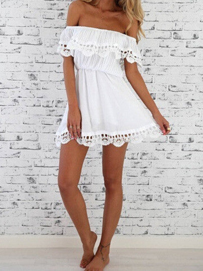 White Off the Shoulder Lace Casual Dress - Crystalline