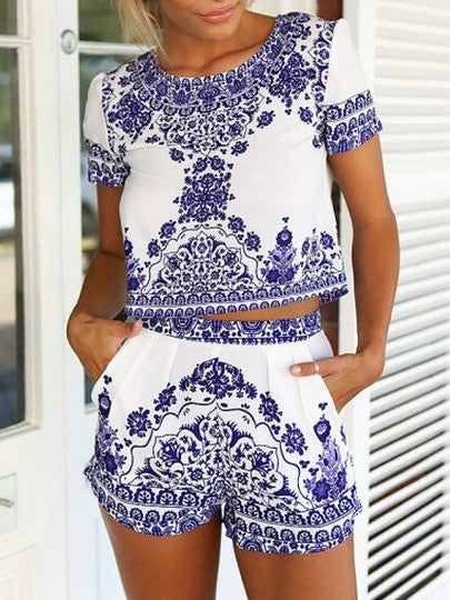 Blue White Short Sleeve Floral Crop Top With Shorts Suits - Crystalline