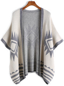 Apricot Batwing Sleeve Geometric Print Knit Cardigan - Crystalline