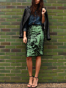 Green Sequined Sparkely Glittery Sexy Straight Skirt - Crystalline