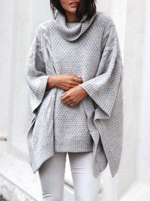 Oversizied Sweater Cape in Grey with Cowl Neck Fall Winter Fashion - Crystalline