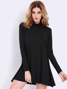 Fall Fashion Black Long Sleeve Casual Dress - Crystalline