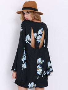 Floral Dress Spring - Black Long Sleeve Patterns Floral Print Dress - Crystalline
