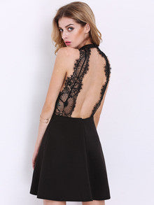 Sexy Black Lace Backless Party Dress - Crystalline