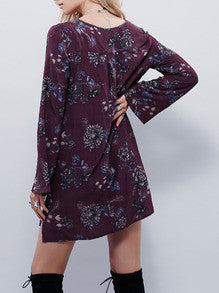 Floral Dress Spring - Purpe Long Sleeve V Neck Floral Dress - Crystalline