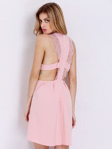 Pink Modest Sleeveless With Lace Dress - Crystalline