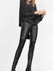 Black PU Leather Slim Pant - Crystalline