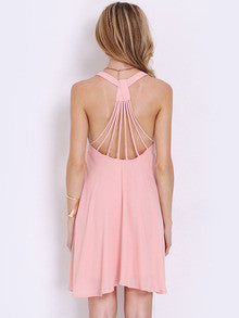 Pink Sleeveless Backless Romantic Loved Pleated Dress - Crystalline