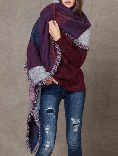 Color-block Geometric Print Frayed Scarf - Crystalline