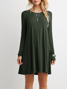 Dark Green Long Sleeve Designer Casual Dress - Crystalline
