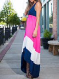 Rose Red Spaghetti Strap Color Block Maxi Dress - Crystalline