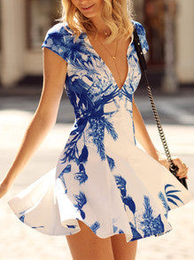Floral Dress Spring - White Cap Sleeve V Neck Floral Print Dress - Crystalline