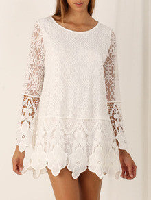White Long Sleeve Crochet Lace Dress - Crystalline