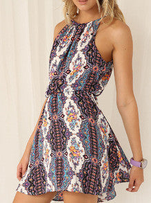 Multicolour Spaghetti Strap Halterneck Tribal Print Dress - Crystalline