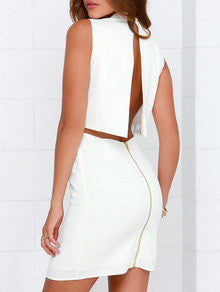 White Sleeveless Split Back Bodycon Dress - Crystalline