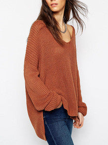 Loose Sweater in Brown with Long Sleeves Fall Winter Fashion Sweater - Crystalline