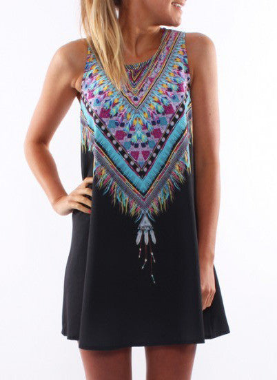 Tribal Print Tradition Shift Black Dress - Crystalline