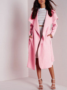 Pink Long Sleeve Lapel Pockets Coat - Crystalline