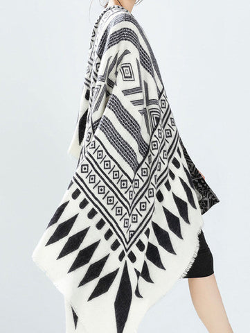 Black White Geometric Print Cape Scarve - Crystalline