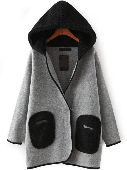 Hooded Patch Pockets Casual Coat