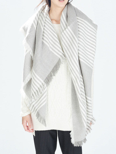 Striped Frayed Scarf - Crystalline