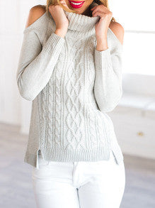 Open Shoulder Sweater Fall Winter Fashion Sweater - Crystalline