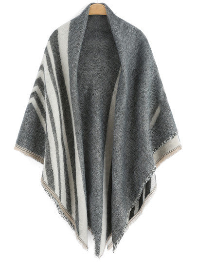 Grey Striped Fringe Scarve - Crystalline