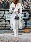 White Lapel Pockets Trench Coat - Crystalline