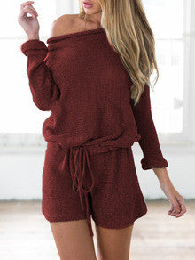 Burgundy  Red Long Sleeve Lace Up Playsuit - Crystalline