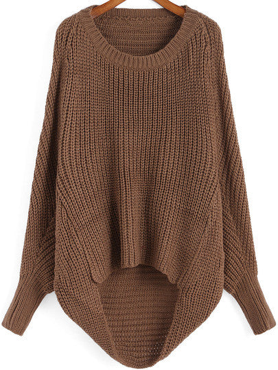 Brown Oversized Knit Winter Trendy Sweater - Crystalline