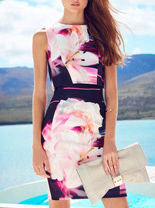Floral Dress Spring - Multicolor Sleeveless Floral Dress - Crystalline