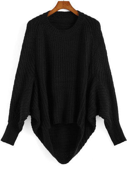 Black Oversized Knit Winter Trendy Sweater - Crystalline