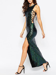 Green Sleeveless Sequined Split Dress - Crystalline