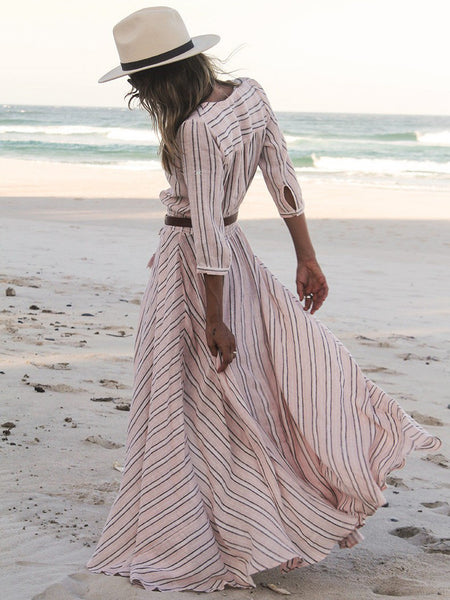 White V Neck Striped Split Maxi Dress - Crystalline
