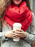 Red Tassel Scarf - Crystalline