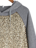 Grey Hooded Long Sleeve Sequined Loose Sweatshirt - Crystalline