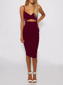 Burgundy Spaghetti Strap Cut Cut Dress - Crystalline