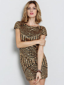 Gold Cap Sleeve Backless Sequined Dress - Crystalline