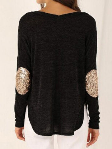Black Elbow Patch Sequined Loose T-Shirt - Crystalline