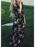 Floral Dress Spring - Navy Long Sleeve Floral Maxi Dress - Crystalline