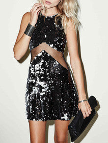 Black Sleeveless Contrast Mesh Yoke Sequined Dress - Crystalline