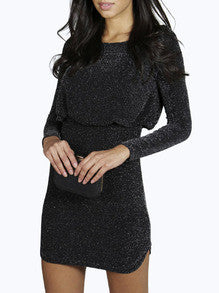 Black Long Sleeve Sequined Bodycon Dress - Crystalline