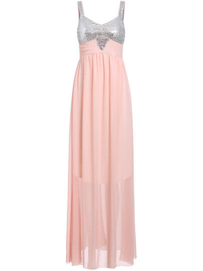 Spaghetti Strap Sequined Maxi Dress - Crystalline
