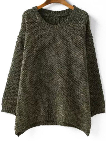 Round Neck Loose Green Sweater - Crystalline