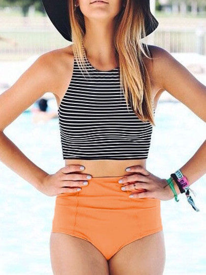 Striped Top With Bikini Swimwear - Crystalline