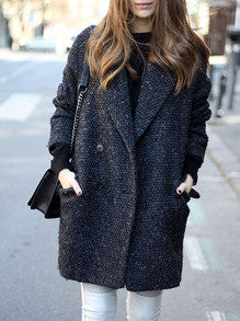 Grey Long Sleeve Lapel Pockets Coat
