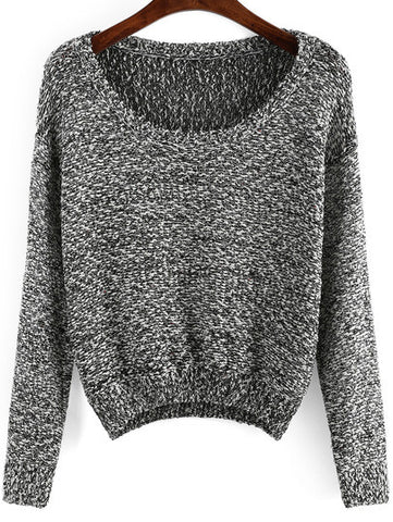 Black Long Sleeve Sequined Crop Sweater - Crystalline