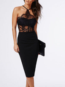 Black Halter With Lace Dress - Crystalline