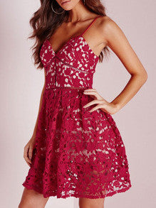 Red Spaghetti Strap Lace Flare Dress - Crystalline